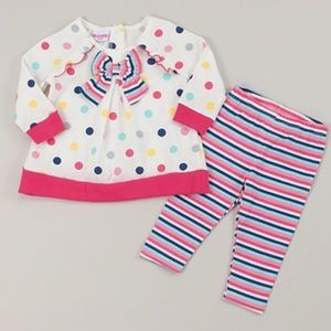 Nannette Matching Sets - Nannette Dot Print Top & Stripe Leggings Set